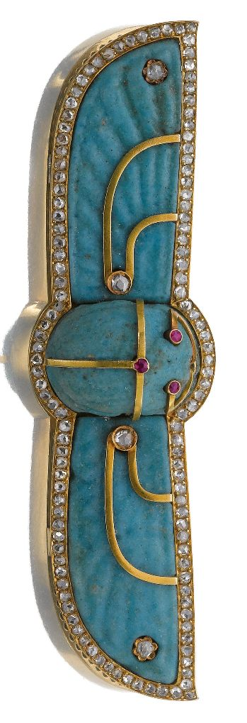 Faience and diamond brooch, late 19th century. In the Egyptian Revival style, de...