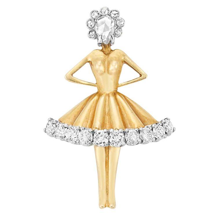 Gold, Platinum and Diamond Ballerina Brooch, Van Cleef & Arpels 18 kt., the peti...