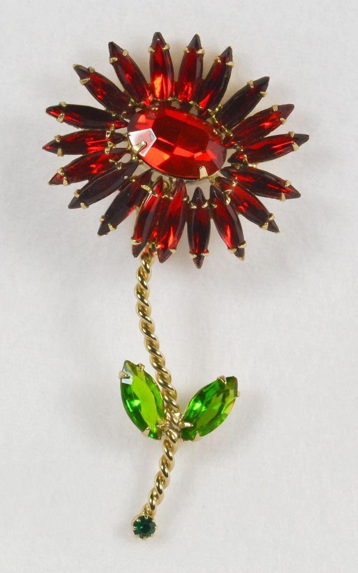 Incredible Vintage SCHREINER Red Rhinestone Flower Pin Brooch from Vermeer Colle...