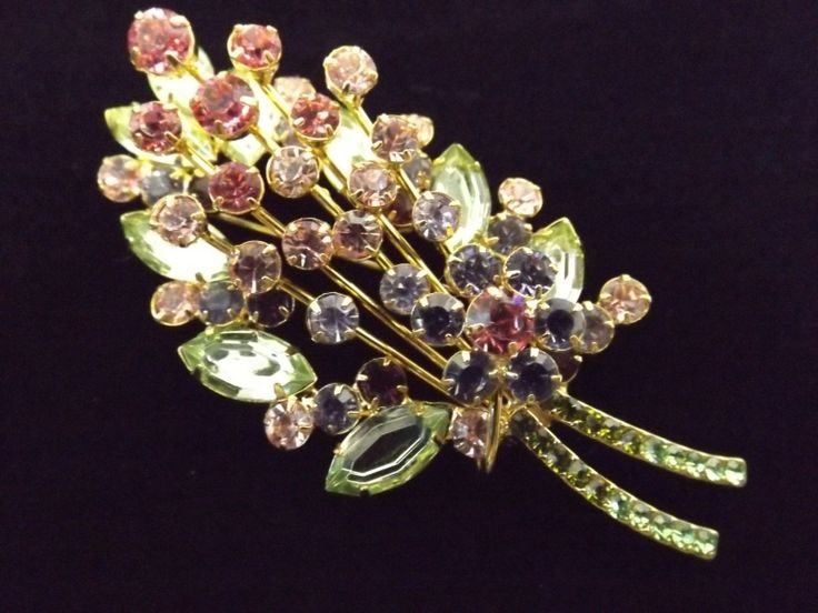 Large Joan Rivers Floral Flowers Bouquet Pastels Mulicolor Brooch Pin Beautiful ...