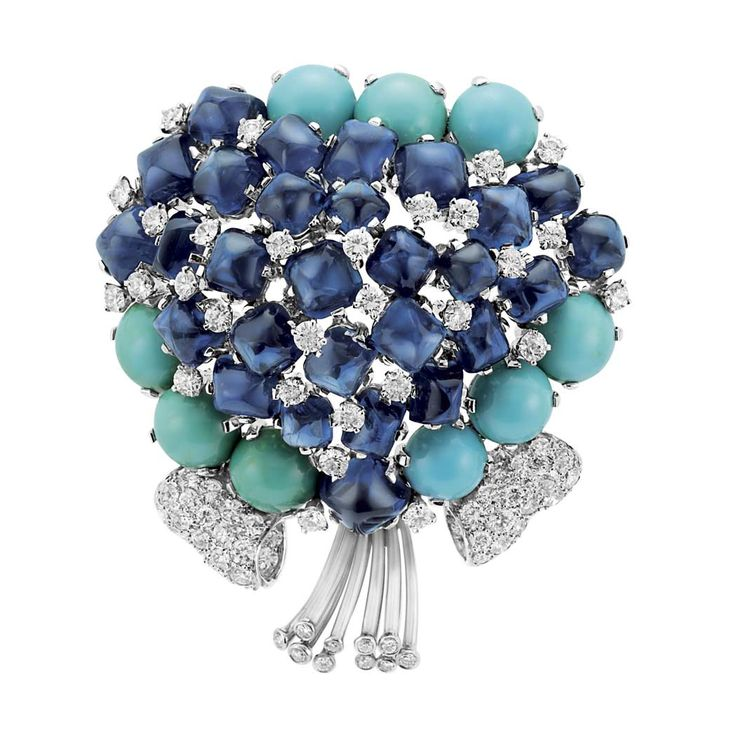 Platinum, Sapphire, Turquoise and Diamond Bouquet Clip-Brooch, Verdura