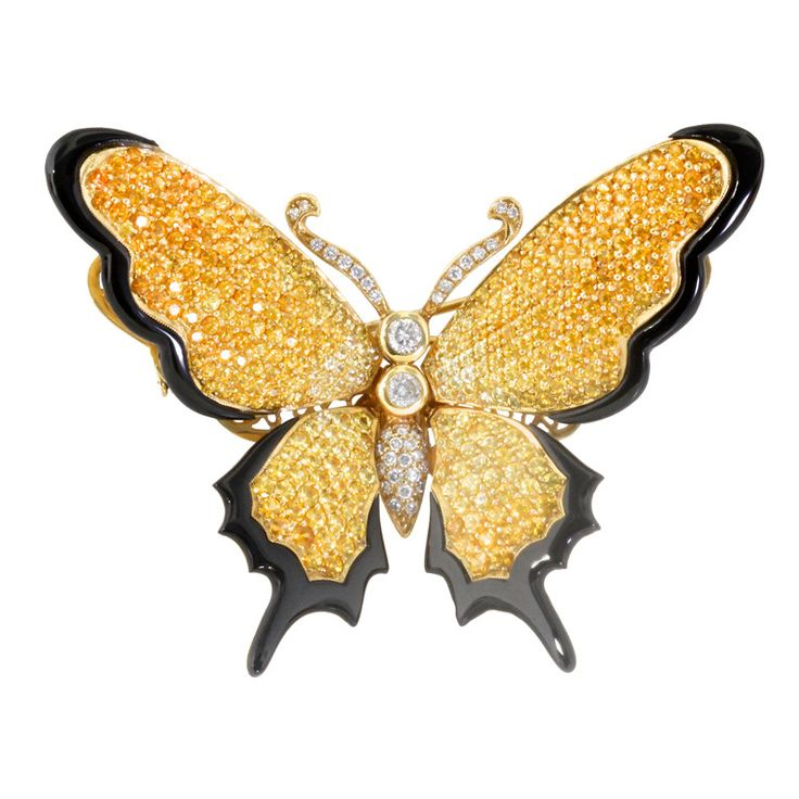 Sapphire Diamond and Gold Butterfly Brooch   From a unique collection of vintage...