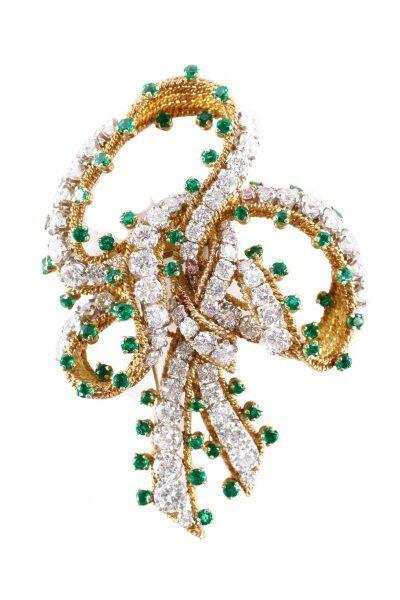 Tiffany & Co. 18k Gold, Diamond & Emerald Brooch