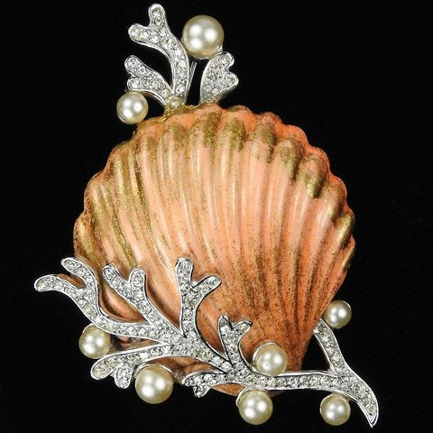 Trifari 'Alfred Philippe' Enamel Seashell with Pave and Pearl Coral Pin