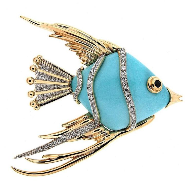 Turquoise Fish Brooch with diamonds | From a unique collection of vintage brooch...