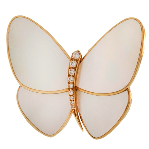Van Cleef & ArplesDiamond and Mother of Pearl Butterfly Brooch