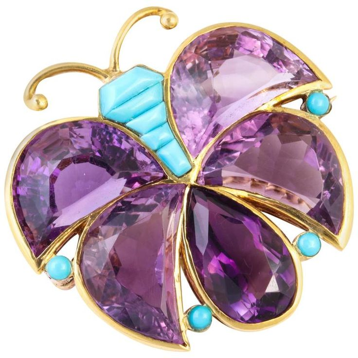 Van Cleef and Arpels fancy cut Amethyst and Turquoise Butterfly Brooch. Signed a...