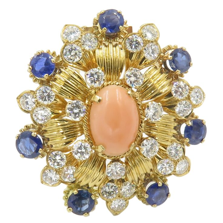 Vourakis Coral Sapphire Diamond Gold Brooch | From a unique collection of vintag...