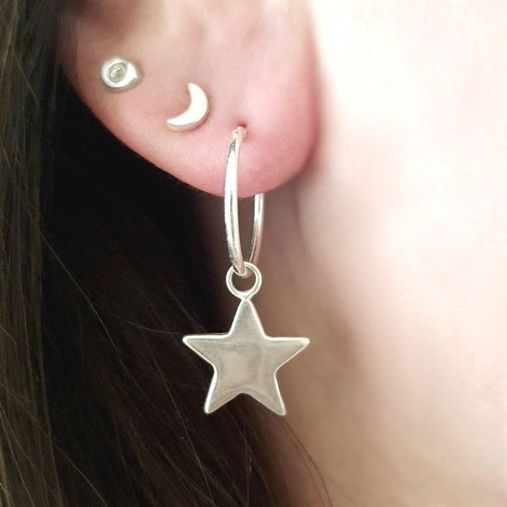 Contemporary sterling silver hoop earrings with a Star charm drop.Lovingly wrapp...
