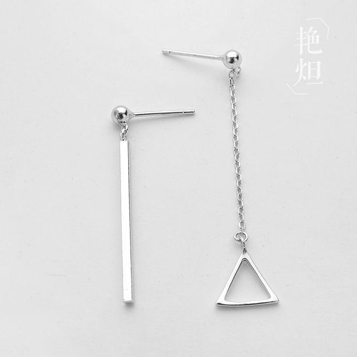South Korean minimalist personality Earrings long triangle asymmetrical S925 pur...
