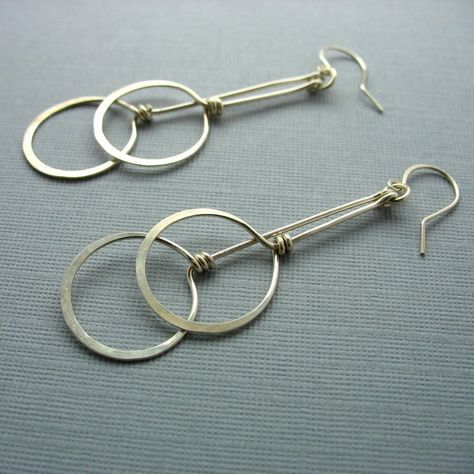 Two Circles Long Dangling Sterling Silver Earrings. $32.00, via Etsy.