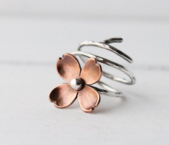 Dogwood Flower Adjustable Branch Ring Twig ring Copper and
