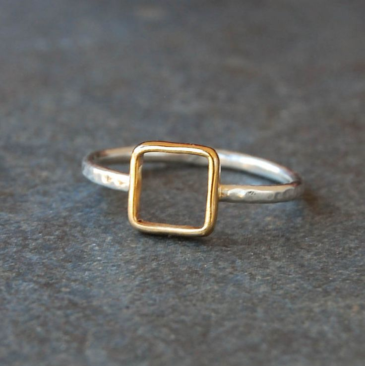 Silver and Gold Square Ring