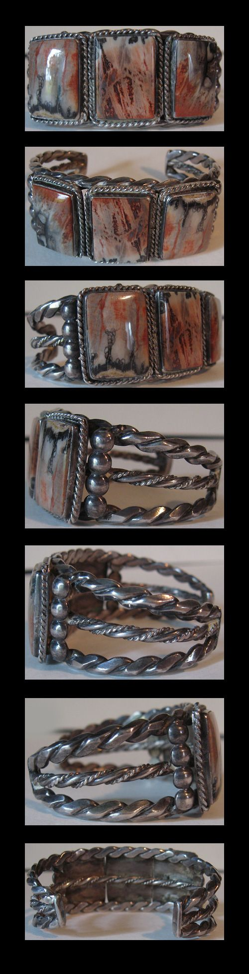 VINTAGE NAVAJO INDIAN HEAVY STERLING SILVER GORGEOUS PETRIFIED WOOD CUFF BRACELE...