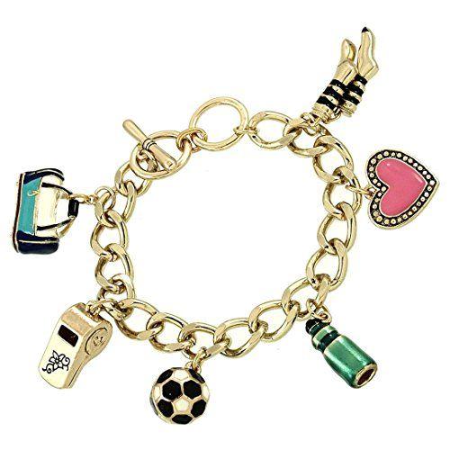 Soccer Charm Bracelet BB Cute Enameled Charms Sports Recy... www.amazon.com/...