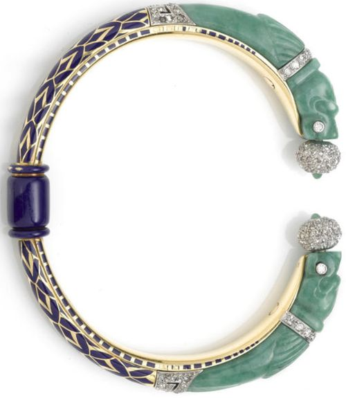 An art deco jadeite jade, enamel and diamond bangle bracelet, French, circa 1925...