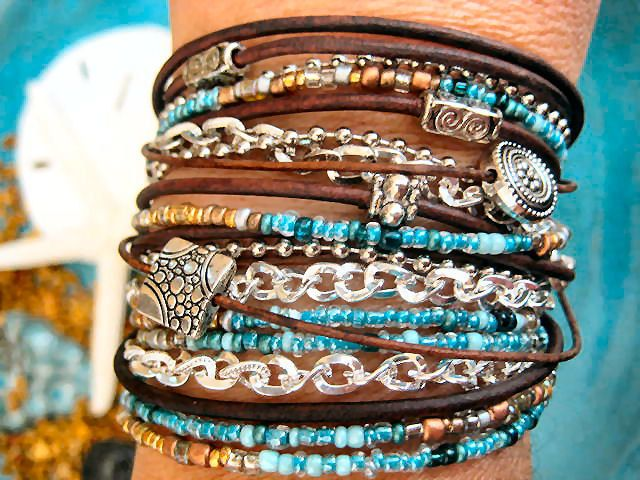 Boho Chic Endless Leather Wrap Beaded Bracelet with Silver Accents