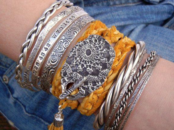 Boho Jewelry, Bohemian Leather Wrap Bracelet, Hippie Fashion, by HappyGoLicky Je...