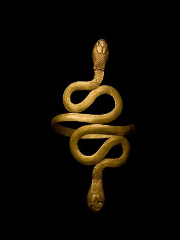 Gold Bracelet from the time of Cleopatra in the shape of two serpents spiraling ...
