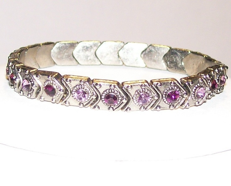 Lilac shades Swarovski Crystals Artisan Jewelry Bracelet Hand Crafted