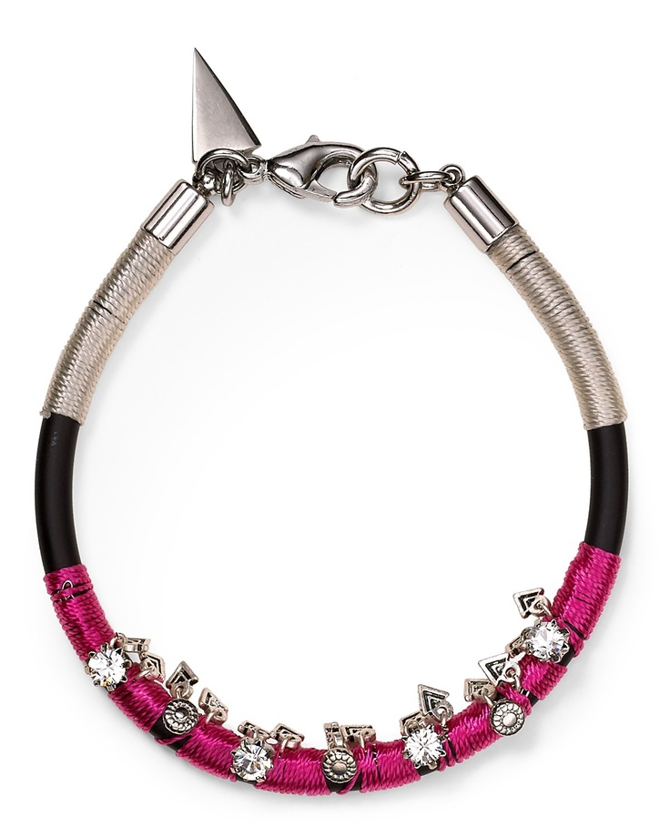 Rebecca Minkoff Rubber Cord Floral Charm & Crystal Bracelet | Bloomingdale's