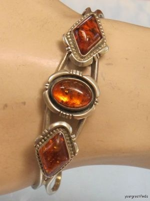 Tribal Sterling Silver Natural Honey Baltic Amber Necklace