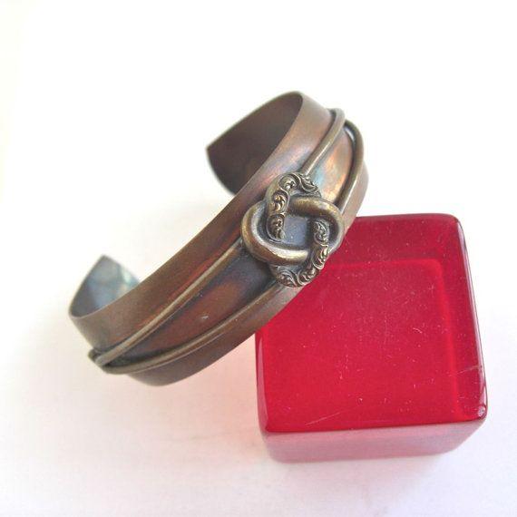 Vintage Genuine Copper Cuff Bracelet  nice interlocking by lucra, $12.50