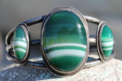 Vintage Navajo Sterling Silver Green Banded Agate Cuff Bracelet Signed Jess | eB...