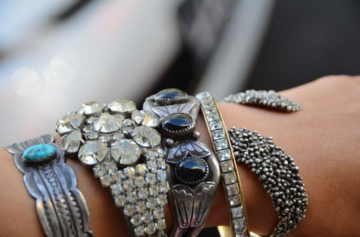 antique silver and rhinestone bangles