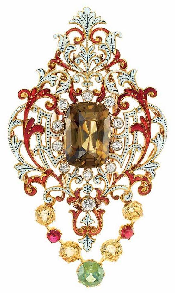 A Renaissance Revival Gold, Enamel, Gem-Set and Diamond Brooch. The fancy-shaped...