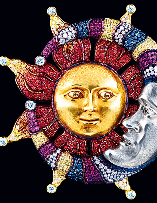 A jewelled brooch portraying the sun and moon, by Jewellery Theatre.
