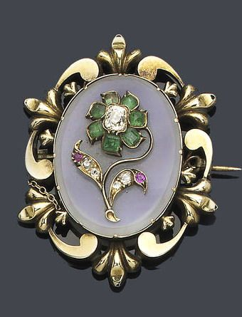 A mid 19th century chalcedony and gem-set brooch, circa 1840 The oval chalcedony...
