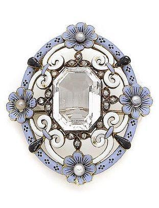 A rock crystal, enamel, seed pearl and rose-cut diamond brooch, circa 1880.
