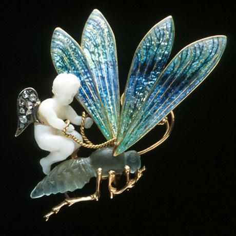 An angel skin coral, enamel, chalcedony and diamond-set brooch after Julien Duva...