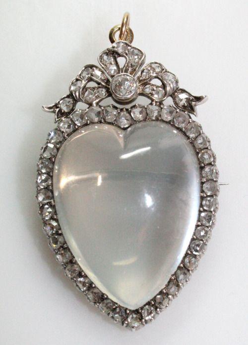 Antique Crystal Heart Brooch