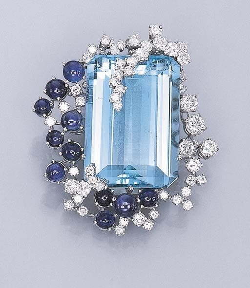 Aquamarine, sapphire and diamond clip brooch.