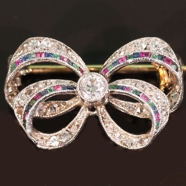 Belle Epoque little diamond bow brooch with rubies emeralds sapphires