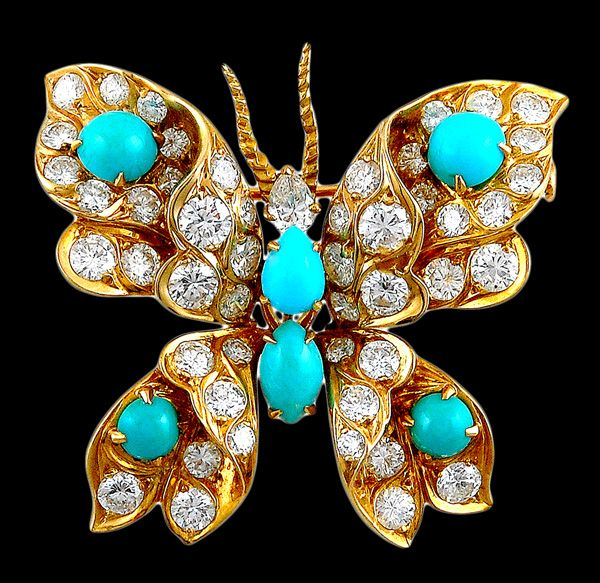 Bulgari Jewelry | BULGARI Diamond Turquoise Butterfly Pin - Yafa Jewelry