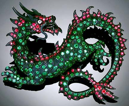CARNET ~ Michelle Ong's emerald  ruby dragon brooch. It measures about 4 inc...