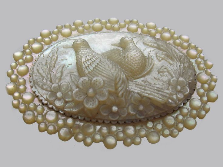 Carved Mother of Pearl Turtle Doves Regency Brooch: A beautiful brooch which is ...