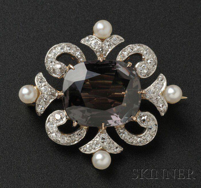 Edwardian Alexandrite and Diamond Pendant/Brooch