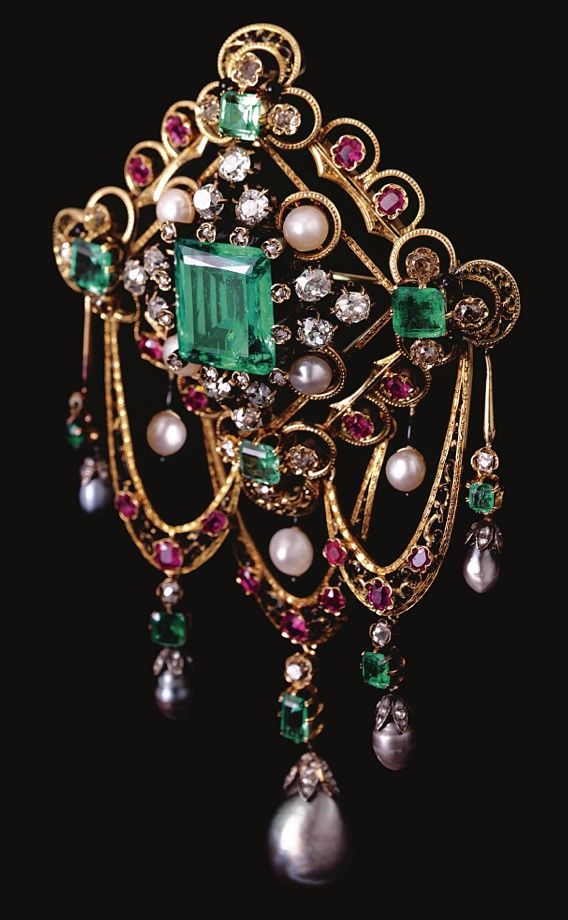 GEM-SET AND ENAMEL DEVANT DE CORSAGE , LAST QUARTER OF 19TH CENTURY  Estimate:  ...