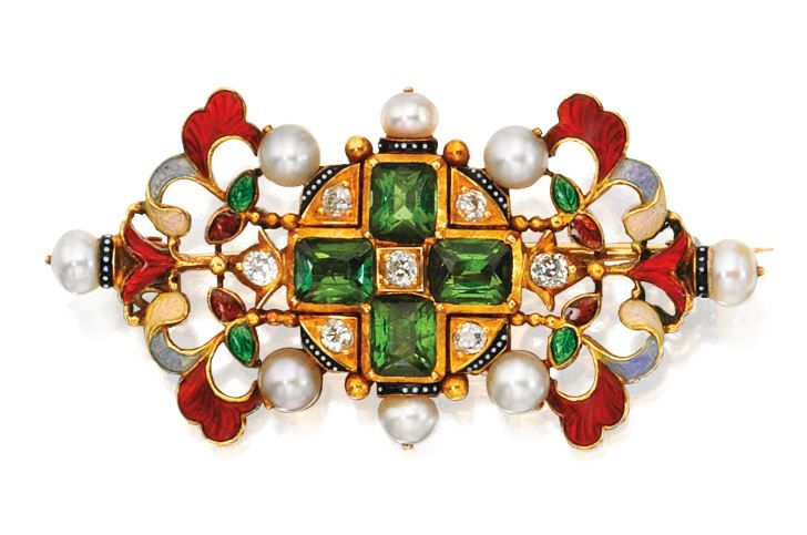 Gold, Tourmaline, Diamond, Seed Pearl and Enamel Brooch, Carlo Giuliano, Circa 1...