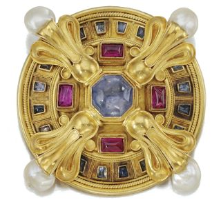 Gold, pearl, ruby and other precious stone brooch by Castellani, circa 1860.