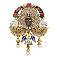 Highly Important Egyptian Revival Pharaoh Portrait Brooch by Carlo Giuliano
