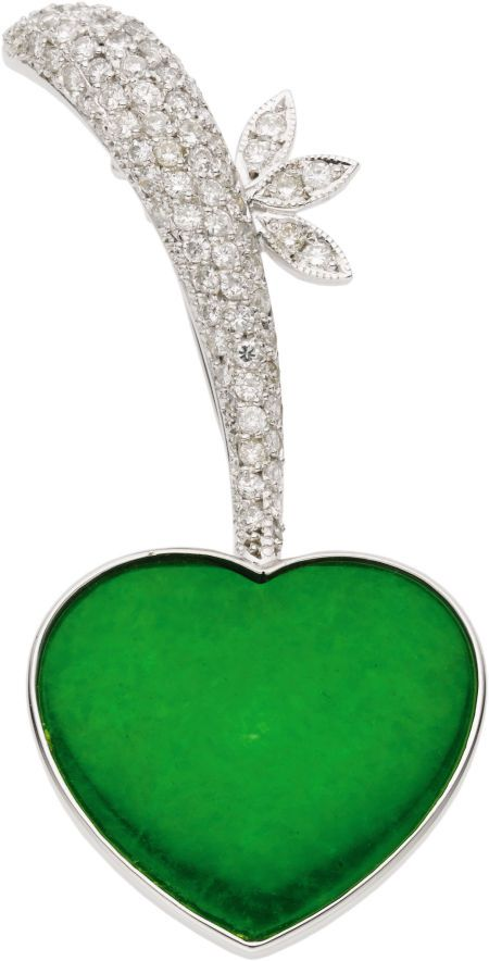 Jade, Diamond, White Gold Brooch  The brooch features a heart-shaped jadeite jad...