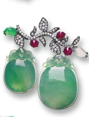 Jadeite, Ruby and Diamond Brooch.