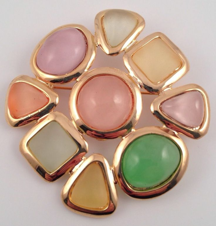 Joan Rivers Gold Tone Multi Colored Pastel Stone Brooch Pin | eBay