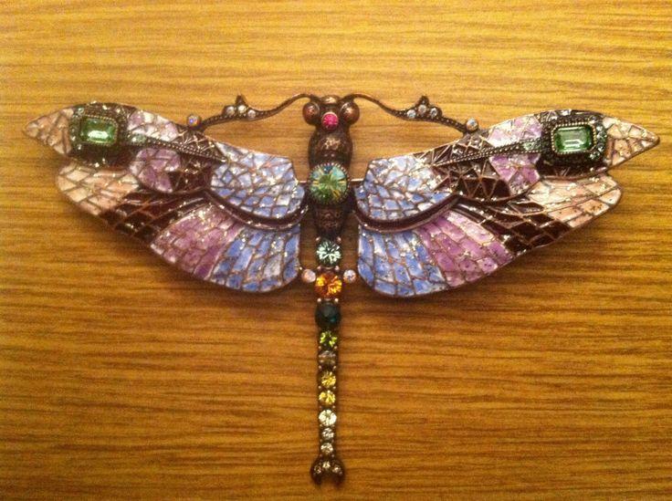 Joan Rivers Mosaic Enamel Crystal Dragonfly Pin Brooch Free Priority SHIP | eBay