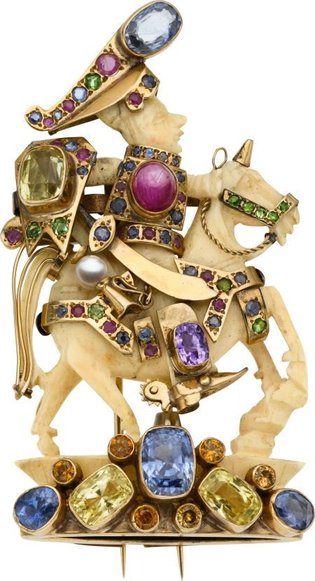 Multi-Stone, Carved Ivory, and Gold Figural Brooch